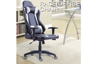 Gaming Racing Office Chair PU Leather SILVER