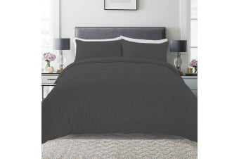 Dreamaker Spandex Emboridery Quilt Cover Set Brickroad Queen Bed - Charcoal