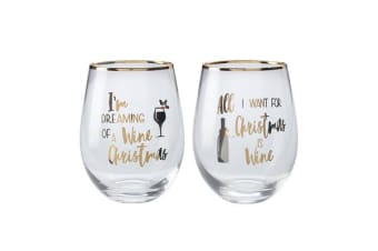 Maxwell & Williams Celebrations Stemless Glass 500ml Set of 2 Wine