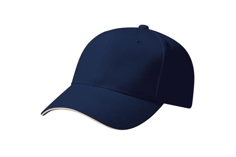 Beechfield Unisex Pro-Style Heavy Brushed Cotton Baseball Cap / Headwear (French Navy/Stone) (One Size)