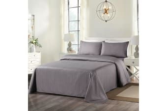 Royal Comfort Cooling Bamboo Blend Sheet Set Striped 1000 Thread Count Pure Soft - Queen - Charcoal