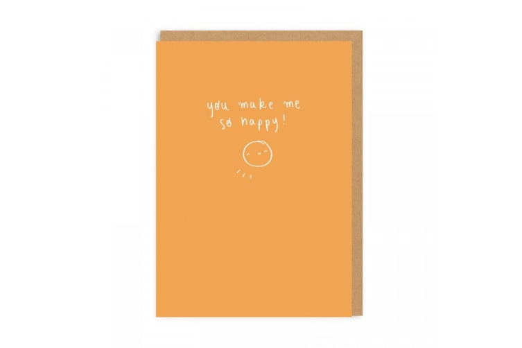 Ohh Deer You Make Me So Happy Greetings Card (Orange) (One Size)