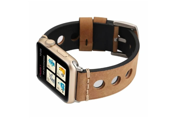 Band For Apple Watch,Leather Strap Replacement Wristband With Silver Stainless Steel Clasp Khaki 44Mm