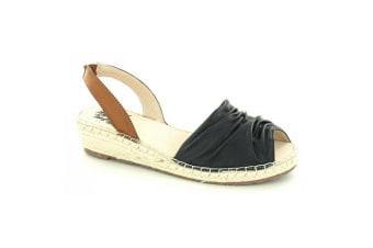 Flowers Womens/Ladies Ruched Style Wedge Sandals (Black)