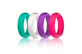 4 pcs Women Silicone Wedding Ring Bands Active Athletes Comfortable Fit Non-toxic Antibacterial 6
