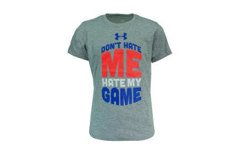 Under Armour Girls' Don't Hate Me Hate My Game (Grey Heather/Blue/Pink, Size XS)