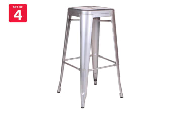 Ovela Set of 4 Tolix Replica 76cm Stools (Silver)