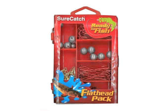 Surecatch 130pc Flathead Pack In Fishing Tackle Box - Tackle Kit