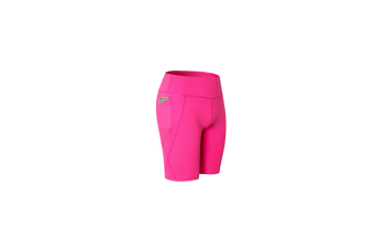 Women Performance Athletic Compression Shorts With Side Pocket - Rose Red Red M