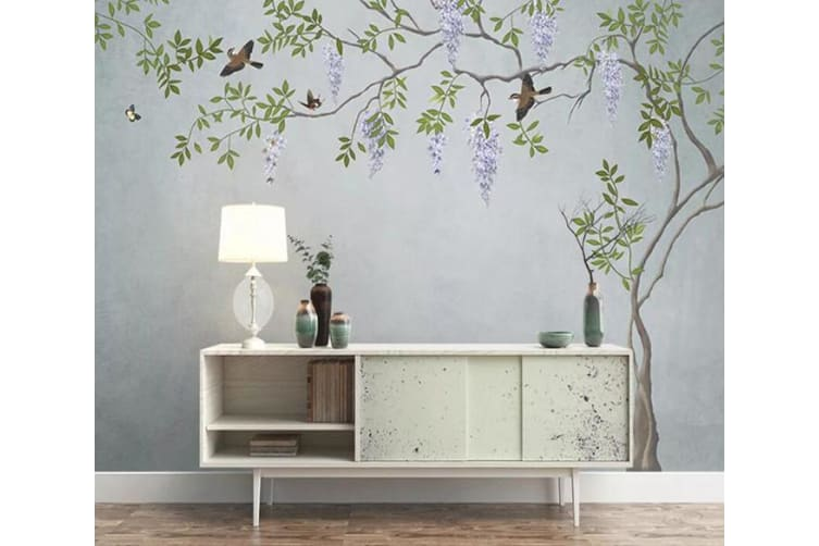 3D Leaf Bird 207 Wall Murals Woven paper (need glue), XL 208cm x 146cm (WxH)(82''x58'')