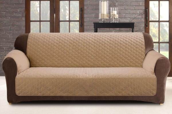 Custom Fit 2 Seater Sofa Protector - Flax