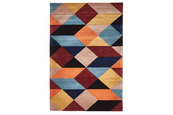 Sandy Designer Wool Rug Rust Blue Navy 320x230cm