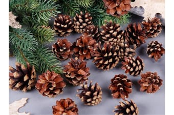 9 Christmas Natural Pine Cones Xmas Tree Home Hanging Decorations Ornament Gifts - 9x Natural Pinecones