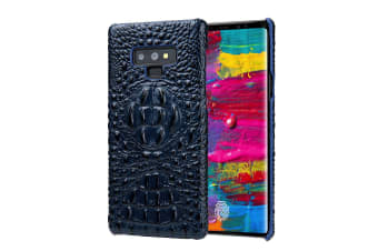 For Samsung Galaxy Note 9 Case Crocodile 3D Genuine Leather Phone Cover Blue