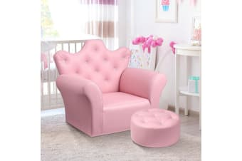 Kidbot Kids Armchair Crystal Princess Sofa Couch PVC Leather with Footstool Pink