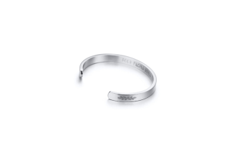Inspirational Stainless Steel Gifts For Women Bracelet Cuff Bangle - Steel Color Silver