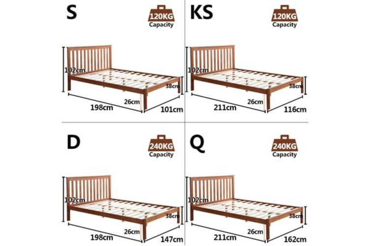 Solid Wood Platform Bed Frame with Headboard SINGLE