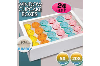 20 Pcs 24 Holes Cupcake Boxes Cupe Cake Box Window Face Cover and Inserts