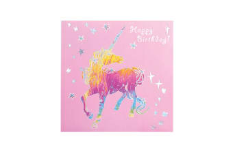 Deckled Edge Prancing Myth Greetings Card (Happy Birthday - Unicorn (Pink/Rainbow/Silver))