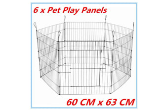 63x60cm 6 Panel Pet Dog Play Pen Playpan Exercise Cage Puppy Enclosure Fence fd