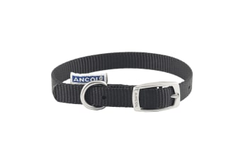 Ancol Pet Products Heritage Buckle Fasten Weatherproof Dog Collar (Black)