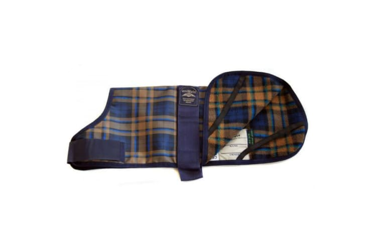 Animate Camel Watch Tartan Dog Coat (Blue) (25cm)