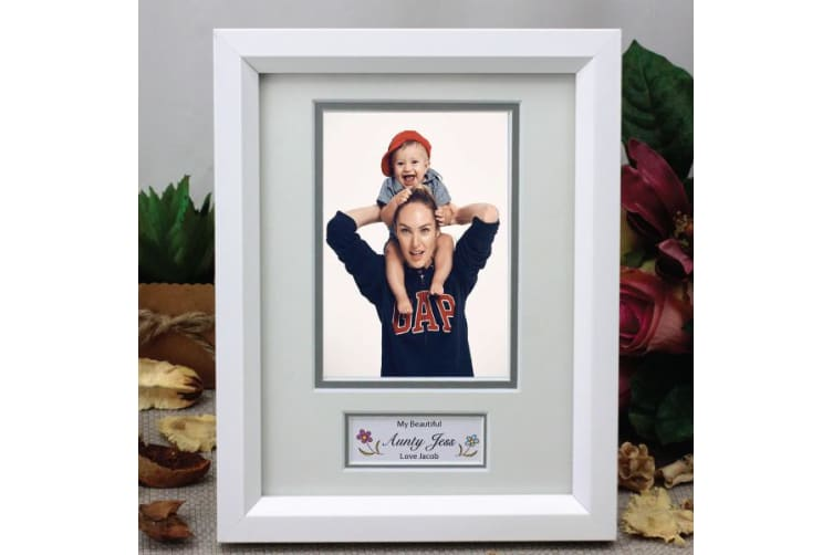 Personalised Aunt Photo Frame White / Silver 4x6 Photo