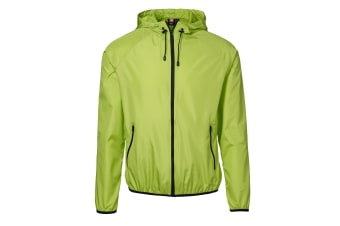 ID Mens Lightweight Fitted Windbreaker Jacket With Packaway Bag (Lime) (M)