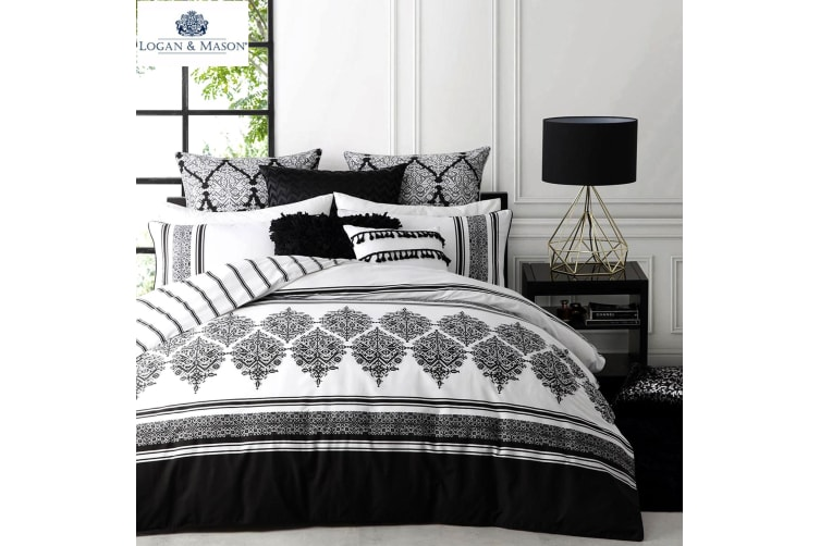 Tangier Black Quilt Cover Set King by Logan and Mason