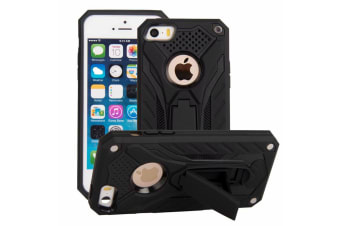 For iPhone 5  5S & SE Case  Armour Strong Shockproof Kickstand Cover  Black