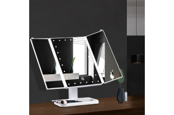 24 LED Light Desk Top Stand Makeup Mirror with Tri-fold Touch