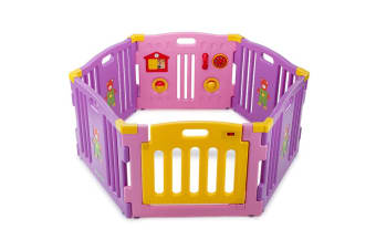 Pink 6pc Baby Playpen