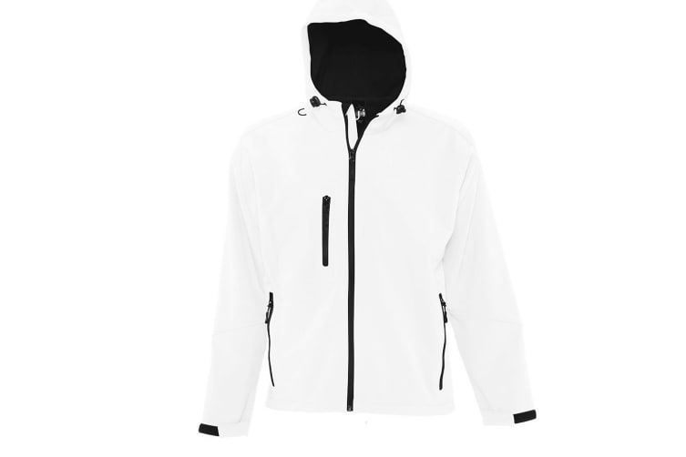 SOLS Mens Replay Hooded Soft Shell Jacket (Breathable  Windproof And Water Resistant) (White) (XL)