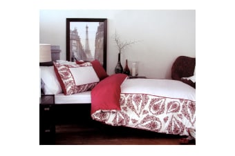 250TC 100% Cotton Antionette Red Quilt Cover Set by Retro Home