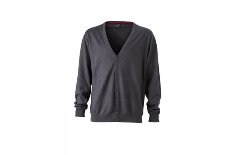 James and Nicholson Mens V-Neck Cardigan (Anthracite Melange) (S)