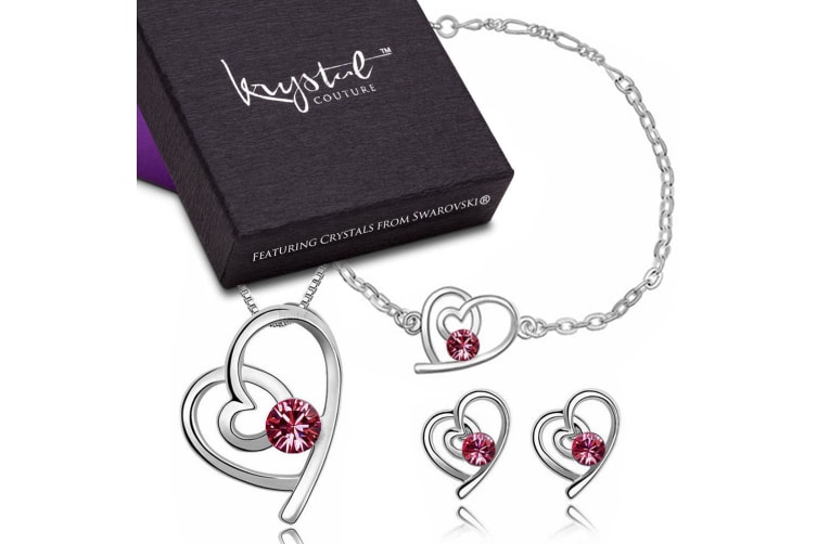 Tayla Swift Bracelet, Necklace and Earrings Set Pink Embellished with Swarovski crystals