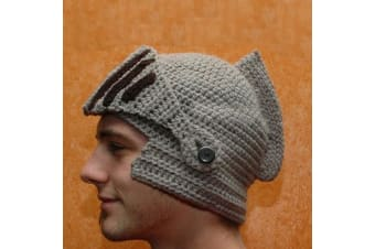 Knight Helmet Beanie Hat – Adult Crochet Ski Mask Winter Wear Head Silver Pivoting Visor