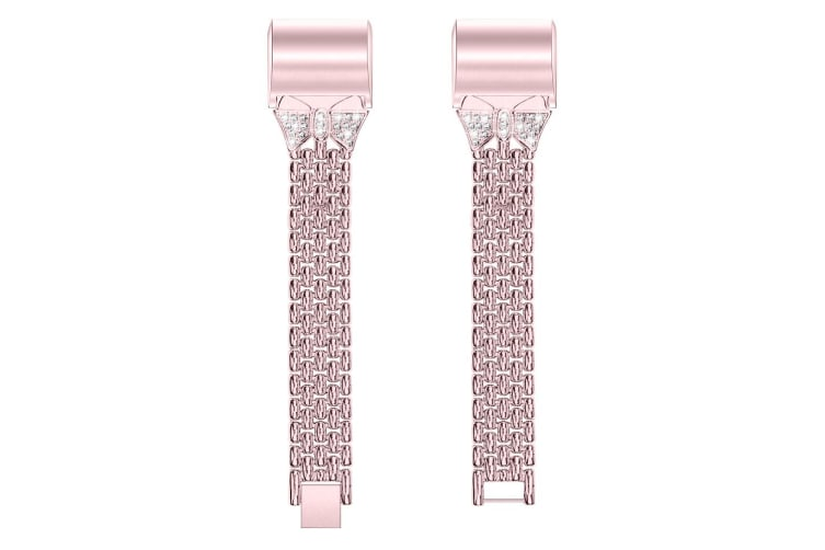 Suitable For Fitbit Charge2 Diamond-Studded Steel Belt Solid Chain Strap Rhinestone Steel Belt Butterfly-Encrusted Strap-ROSE POWDER