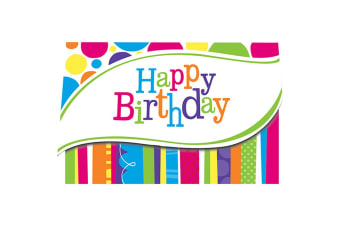 Creative Converting Bright And Bold Birthday Invitation Cards (Pack Of 8) (Multicoloured)