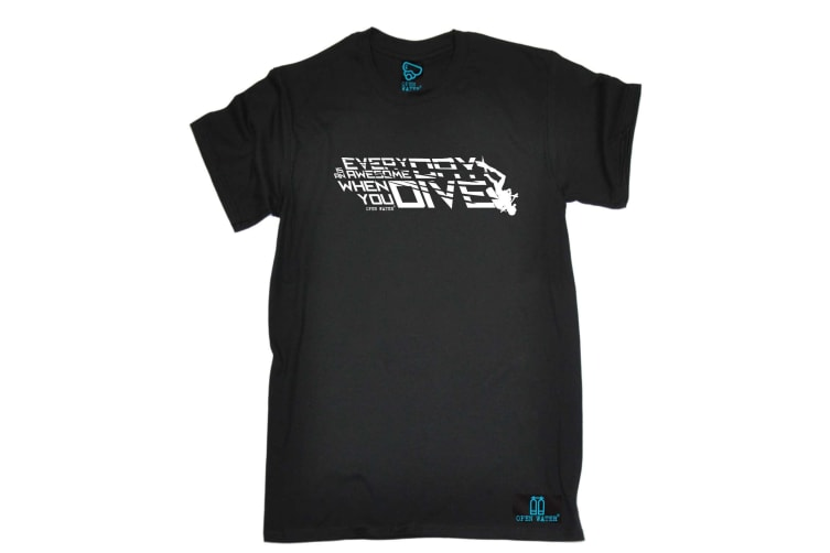 Open Water Scuba Diving Tee - Everyday Awesome When You Dive - (4X-Large Black Mens T Shirt)