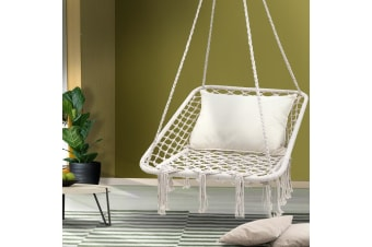 Camping Hammock Chair Outdoor Hanging Rope Portable Swing Cream