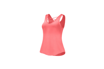 Women Stretchy Hollow Out Vest Camisole Sleeveless T Shirt Red L