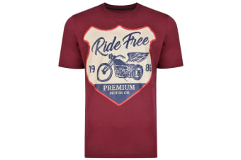 Kam Jeanswear Mens Motorcycle Print Tee (Pack Of 2) (Charcoal/Burgundy) (2XL)