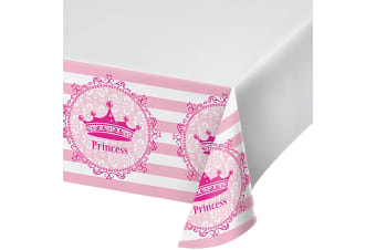 Creative Converting 88 Inch Pink Princess Royalty Plastic Tablecover (Pink)