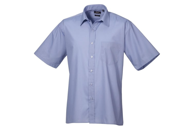Premier Mens Short Sleeve Formal Poplin Plain Work Shirt (Mid Blue) (20)