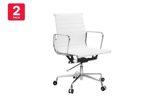 2 Pack Ergolux Executive Eames Replica Low Back Ribbed Office Chair (White)