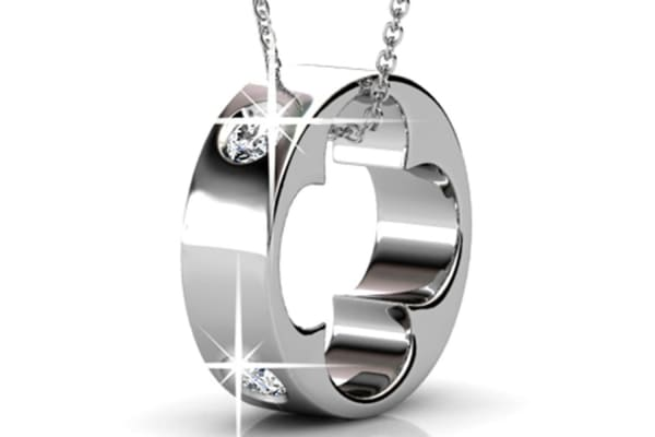 Ring Pendant Necklace w/Swarovski Crystals-White Gold/Clear