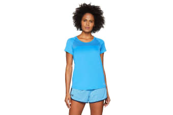 Under Armour Women's Fly-by T-Shirt (Mako Blue/Reflective, Size Large)