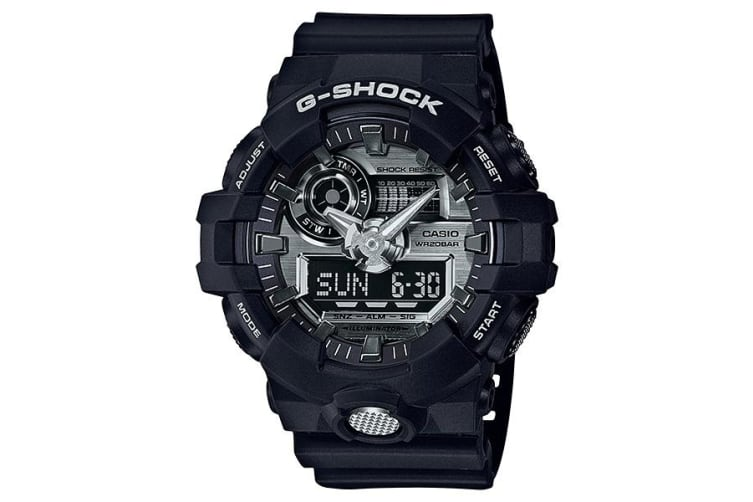 Casio G-Shock Analogue/Digital Mens Black/Silver Watch GA710-1A GA-710-1ADR