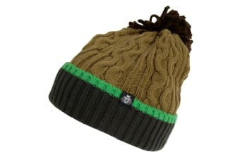 Skats Mens Knitted Bobble Winter Hat (Forest Green/Khaki) (One Size)